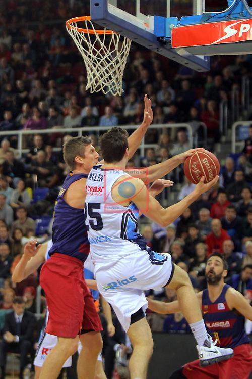 League ACB-ENDESA 2016/2017 - Game: 16.<br /> FC Barcelona Lassa vs Rio Natura Monbus Obradoiro: 100-76.<br /> Justin Doellman vs Rosco Allen.