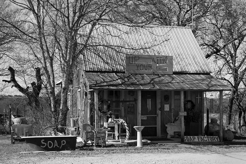 Old soap roadside soap store in Adams along Texas Highway 183.