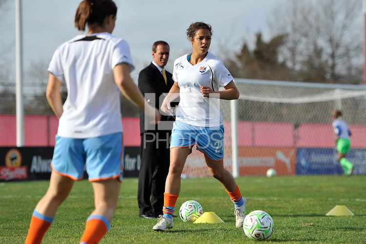 Casey Nogueira (27) of Sky Blue FC is watched by head coach Jim Gabarra during warmups. The Philadelphia Independence and Sky Blue FC played to a 2-2 tie during a Women's Professional Soccer (WPS) match at Yurcak Field in Piscataway, NJ, on April 10, 2011.