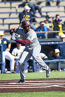 Central Michigan Chippewas designated hitter Zach Fields (45) at bat against the Michigan Wolverines on March 29, 2016 at Ray Fisher Stadium in Ann Arbor, Michigan. Michigan defeated Central Michigan 9-7. (Andrew Woolley/Four Seam Images)