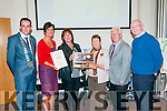 Listowel Tidy Towns Awards: Mary Lynch of Lynch's Bakery accepting the Best Overall Premises  award at the Listowel Tidy Towns Awards ceremony at the Listowel family resource Centre on Thursday night last. L-R: Mayor Jimmy Moloney, Joan McCarthy KCC, Mary Lynch, MAry O'Hanlon, Keran Moloney & Cllr. John Brassill.