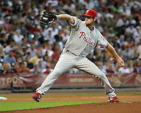 Phillies pitcher Cole Hamels on Sunday May 25th at Minute Maid Park in Houston, Texas. Photo by Andrew Woolley / Four Seam Images.
