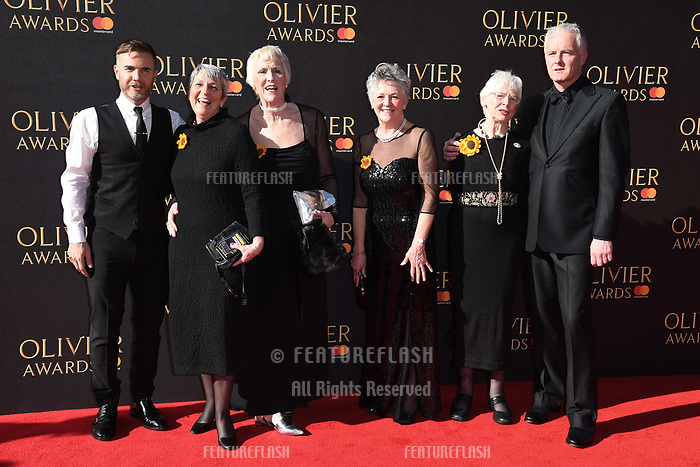 Gary Barlow, the real Calendar Girls &amp; Tim Firth at The Olivier Awards 2017 at the Royal Albert Hall, London, UK. <br /> 09 April  2017<br /> Picture: Steve Vas/Featureflash/SilverHub 0208 004 5359 sales@silverhubmedia.com