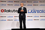 October 6, 2017, Tokyo, Japan - Fukushima's Minamisoma city mayor Katsunobu Sakurai announces Japan's online commerce giant Rakuten and convenience store chain Lawson will start a trial service to deliver Lawson's goods with Rakuten's drone in Minamisoma city end of this month in Tokyo on Friday, October 6 2017. Minamisoma's Odaka district was designated as a district under evacuation orders  due to the nuclear accident of TEPCO's Fukushima Dai-ichi nuclear plant caused by tsunami and Lawson opened the first convenience store in the area last year.    (Photo by Yoshio Tsunoda/AFLO) LWX -ytd-