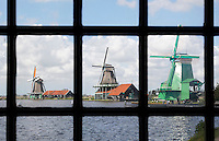The Netherlands, Zaanse Schans, 2015 06 03. The river Zaan. Mills in Zaanse Schans
