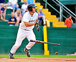 25 July 2010: Vermont Lake Monsters catcher David Freitas slams a 2-run homer in the first inning against the Tri-City ValleyCats at Centennial Field in Burlington, Vermont. The ValleyCats came from behind to defeat the Lake Monsters 10-8 in NY Penn League action. Mandatory Credit: Ed Wolfstein Photo