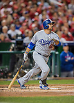 13 October 2016: Los Angeles Dodgers first baseman Adrian Gonzalez in action during the NLDS Game 5 against the Washington Nationals at Nationals Park in Washington, DC. The Dodgers edged out the Nationals 4-3, to take Game 5, and the Series, 3 games to 2, moving on to the National League Championship against the Chicago Cubs. Mandatory Credit: Ed Wolfstein Photo *** RAW (NEF) Image File Available ***
