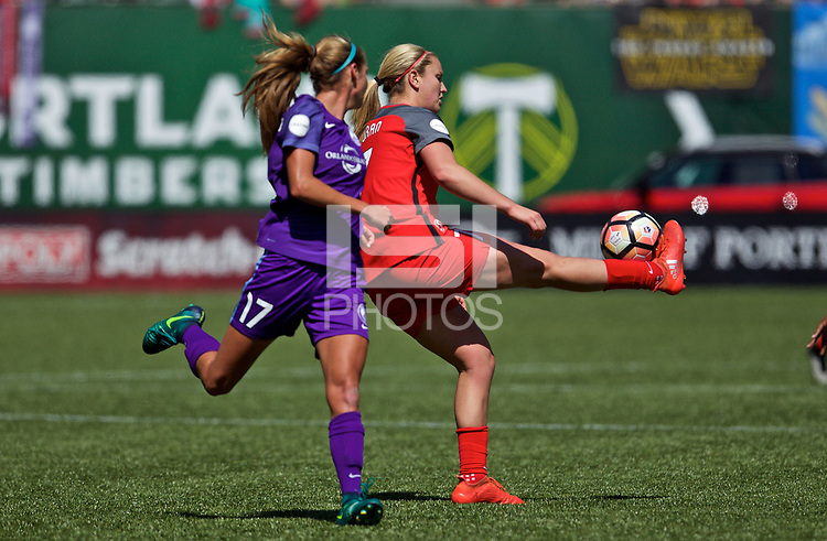 Portland, OR - Saturday April 15, 2017: Lindsey Horan during a regular season National Women's Soccer League (NWSL) match between the Portland Thorns FC and the Orlando Pride at Providence Park.