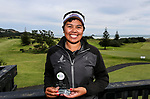 Chantelle Cassidy with the winners trophy after the Charles Tour, Muriwai Open at Akarana Golf Course, Auckland, New Zealand, Sunday 9 April 2017.  Photo: Simon Watts/www.bwmedia.co.nz