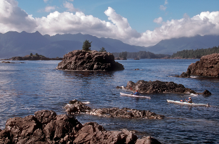 Sea kayakers, Vancouver Island, Kyuquot Sound; Checkleset Bay, British Columbia, Canada, North America, Pacific Coast,