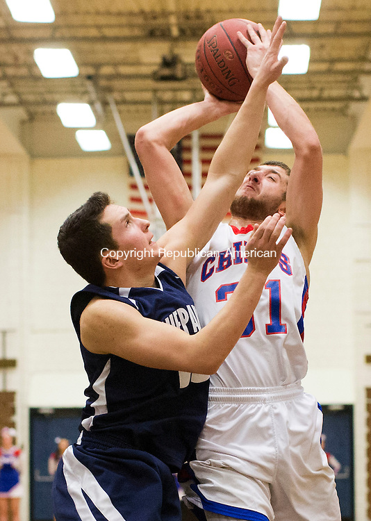Woodbury, CT- 13 February 2015-021315CM16-Nonnewaug's Nick DeCicco, right, goes to the basket against Shepaug's Austin Dutcher during the first half of a Berkshire League boys basketball game in Woodbury on Friday night.   Christopher Massa Republican-American