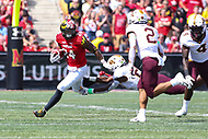 College Park, MD - September 22, 2018:  Maryland Terrapins running back Ty Johnson (24) avoids the tackle during the game between Minnesota and Maryland at  Capital One Field at Maryland Stadium in College Park, MD.  (Photo by Elliott Brown/Media Images International)