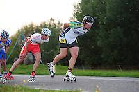 INLINE-SKATEN: STEENWIJK: Gagelsweg (start/finish), Schansweg, Meppelerweg, KPN Inline Cup, Klim van Steenwijk, 02-05-2012, Erwin Mesu (#9) achter Gary Hekman (#92), ©foto Martin de Jong