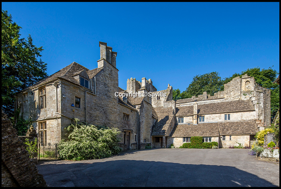 BNPS.co.uk (01202)558833<br /> Pic:   Savills/BNPS<br /> <br /> The courtyard.<br /> <br /> A 800 year old castle that stands over Prince Charles' Highgrove estate and was left a ruin by the Civil War has gone on the market for £10m.<br /> <br /> Beverston Castle, on the outskirts of Tetbury, Gloucs, is only partly habitable today but has a charming seven bedroom manor house built on to it.<br /> <br /> The historic property, that comes with a huge 693 acres of land, had been owned for 70 years by the late showjumper Major Laurence Rook and his wife Jane.<br /> <br /> The couple were famed for the hospitality they laid on to visitors of the week-long Badminton Horse Trials which is nearby.