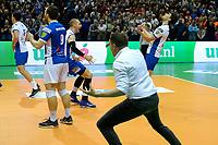 GRONINGEN - Volleybal , Lycurgus - Orion, finale playoff 5, seizoen 2018-2019, 12-5-2019,  Lycurgus denkt beslissend punt in derde set gescoord te hebben maar wordt niet gegeven