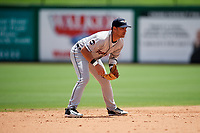 Lakeland Flying Tigers shortstop Junnell Ledezma (12) during the first game of a doubleheader against the Clearwater Threshers on June 14, 2017 at Spectrum Field in Clearwater, Florida.  Lakeland defeated Clearwater 5-1.  (Mike Janes/Four Seam Images)