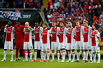 Ajax players take part in a minutes silence during the UEFA Europa League Final match at the Friends Arena, Stockholm. Picture date: May 24th, 2017.Picture credit should read: Matt McNulty/Sportimage
