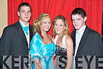FUN TIME: Enjoying a fun time at the St Joseph's Secondary School, Ballybunion Debs in the Abbeygate Hotel on Saturday l-r: Scott Kelleher, Aileen Crowe, Ciara Kennelly and Denis O'Connor.   Copyright Kerry's Eye 2008