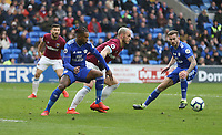 West Ham United's Marko Arnautovic and Cardiff City's Leandro Bacuna<br /> <br /> Photographer Rob Newell/CameraSport<br /> <br /> The Premier League - Cardiff City v West Ham United - Saturday 9th March 2019 - Cardiff City Stadium, Cardiff<br /> <br /> World Copyright © 2019 CameraSport. All rights reserved. 43 Linden Ave. Countesthorpe. Leicester. England. LE8 5PG - Tel: +44 (0) 116 277 4147 - admin@camerasport.com - www.camerasport.com