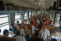 Full carriage of a passenger train travelling from Beijing to Datong, China.