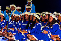 Tamarii Mataeia choir performing during the Heiva i Tahiti (July cultural festival), Place Toata, Papeete, Tahiti, French Polynesia.