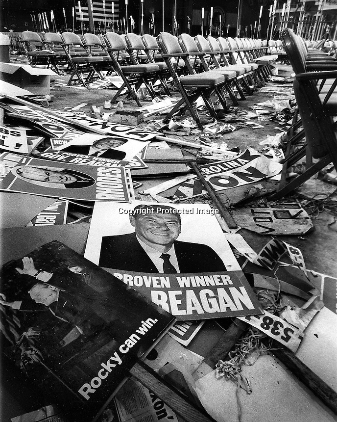 Posters of Ronald Reagan and Nelson Rockerfeller litter the convention floor in Miami  1968 after the GOP nominated Richard Nixon for President.<br />(photo/Ron Riesterer)