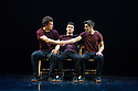 London, UK. 07.01.2015. Barely Methodical Troupe present BROMANCE at the Platform Theatre, Kings Cross, as part of the London International Mime Festival 2015. The company comprises: Beren d'Amico, Louis Gift and Charlie Wheeller. Photograph © Jane Hobson.