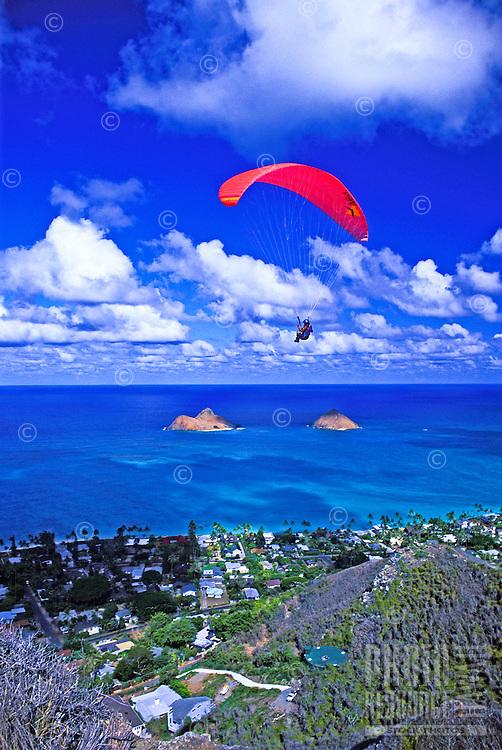 Paragliding over Kaiwa Ridge trail and Lanikai, windward Oahu