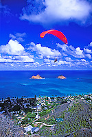 Paragliding over Kaiwa Ridge trail and Lanikai, windward Oahu