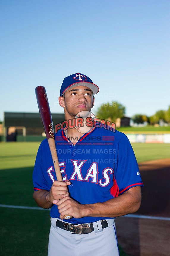 AZL Rangers Bubba Thompson (29) poses for a photo prior to a game against the AZL Giants on August 22 at Scottsdale Stadium in Scottsdale, Arizona. AZL Rangers defeated the AZL Giants 7-5. (Zachary Lucy/Four Seam Images)