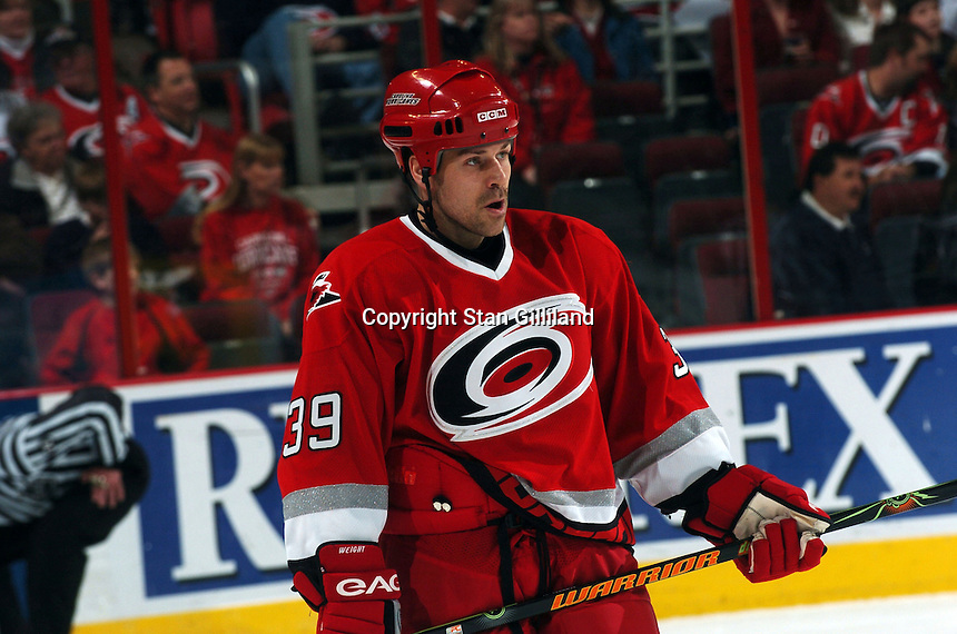 Carolina Hurricanes' Doug Weight skates through a stoppage in play during a game with the Florida Panthers Friday, March 3, 2006 at the RBC Center in Raleigh, NC. Carolina won 5-2.
