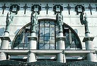 Otto Wagner: Church AM Steinhof, Vienna. Frontal elevation detail.