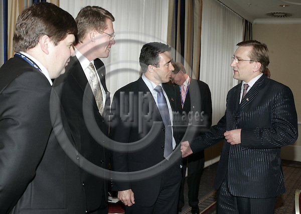 BRUSSELS - BELGIUM - 22 MARCH 2005-- EU-Summit hosted by the Luxembourg Presidency of the EU-Council. -- Meeting of the Nordic - and the Baltic Countries Prime Ministers. -- (From L) Aigars KALVITÎS (Kalvitis), Prime Minister of Latvia; Matti VANHANEN, Prime Minister of Finland; Anders-Fogh RASMUSSEN, Prime Minister of Danmark and Juhan PARTS, Prime Minister of Estonia.-- PHOTO: JUHA ROININEN / EUP-IMAGES