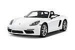 2019 Porsche 718-Boxster - 2 Door Convertible Angular Front stock photos of front three quarter view