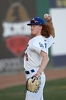 Dustin May (40) of the Rancho Cucamonga Quakes throws before pitching against the Lancaster JetHawks at LoanMart Field on September 9, 2017 in Rancho Cucamonga, California. Lancaster defeated Rancho Cucamonga, 12-7. (Larry Goren/Four Seam Images)