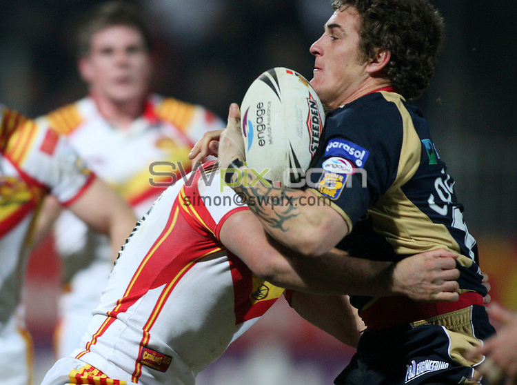 Pix:Oskar Vierod/SWpix.com. Rugby League Super League season 2008. Catalans Dragons v Hull KR. 16/02/2008.copyright picture>>simon wilkinson>>07811267706>>.Ben Cockayne runs into trouble