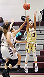 NAUGATUCK CT. 11 December 2018-121018SV14-#13 Mikayla Mobley of Sacred Heart launches a shot against Naugatuck during 2nd quarter NVL basketball action in Naugatuck Tuesday.<br /> Steven Valenti Republican-American