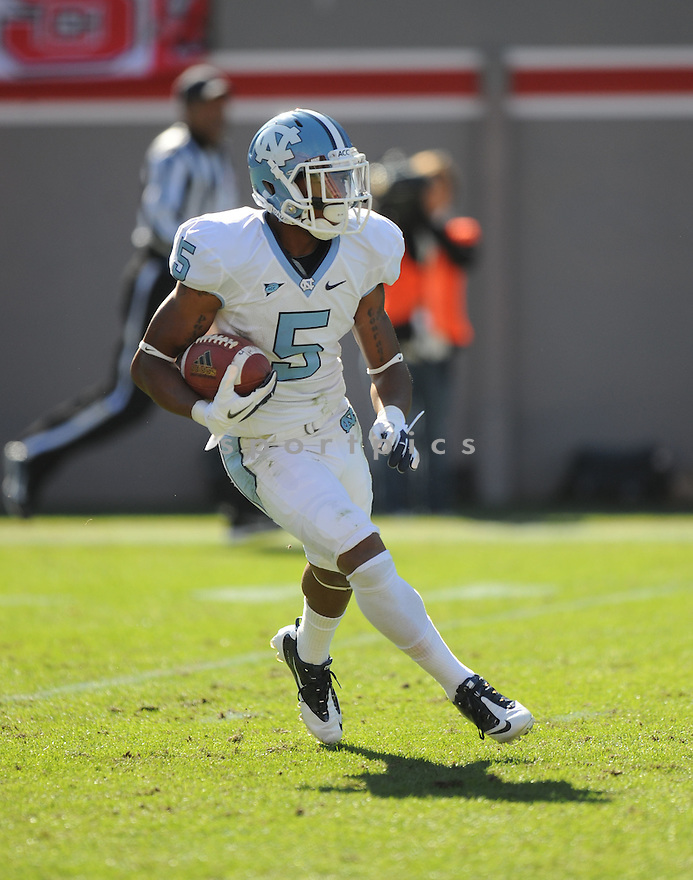 TJ THORPE, of the University of North Carolina, in action during UNC's game against NC State on November 5, 2011 at Carter-Finley Stadium in Raleigh, NC. NC State beat North Carolina 13-0.