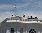 A Lockheed Martin F-35 Lightning II fighter, like the one United States President Donald J. Trump is planning to sell to Poland, flies over the White House in Washington, DC on Wednesday, June 12, 2019.<br /> Credit: Ron Sachs / CNP