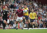 Hayden Mullins of West Ham and Robin Van Persie of Arsenal - West Ham Utd vs Arsenal, Barclays Premier League at Upton Park, West Ham - 25/09/05 - MANDATORY CREDIT: Rob Newell - NO UNPAID USE