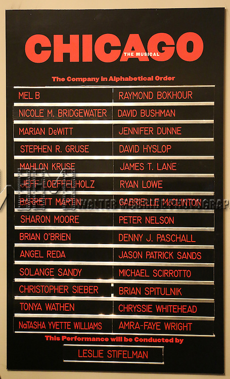 Lobby cast board for Mel B during her Curtain Call Bows in Broadway's 'Chicago' at  the Ambassador Theatre in New York City.