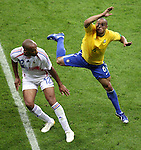 01 July 2006: Thierry Henry (FRA) (12) avoids Roberto Carlos (BRA) (6). France defeated Brazil 1-0 at Commerzbank Arena in Frankfurt, Germany in match 60, a Quarterfinal game of the 2006 FIFA World Cup.