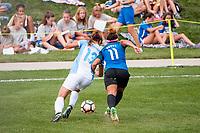 Kansas City, MO - Wednesday August 16, 2017: Alex Morgan, Desiree Scott during a regular season National Women's Soccer League (NWSL) match between FC Kansas City and the Orlando Pride at Children's Mercy Victory Field.