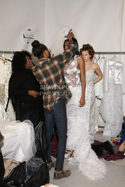 Backstage at BK Fashion Week{end} Fall/Winter 2012.