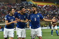 Federico Chiesa, Ricxardo Orsolini and Patrick Cutrone of Italy celebrate at the end of the match <br /> Bologna 16-06-2019 Stadio Renato Dall'Ara <br /> Football UEFA Under 21 Championship Italy 2019<br /> Group Stage - Final Tournament Group A<br /> Italy - Spain <br /> Photo Andrea Staccioli / Insidefoto