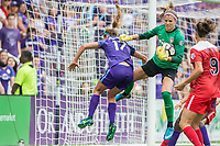 Orlando, FL - Saturday April 22, 2017: Dani Weatherholt, Stephanie Labbe during a regular season National Women's Soccer League (NWSL) match between the Orlando Pride and the Washington Spirit at Orlando City Stadium.