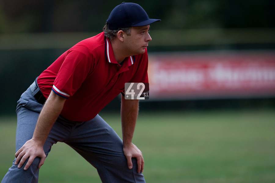 03 october 2009: Third base umpire Fabien Carette Legrand is seen during game 1 of the 2009 French Elite Finals won 6-5 by Rouen over Savigny in the 11th inning, at Stade Pierre Rolland stadium in Rouen, France.