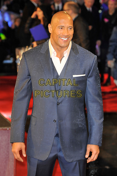 "Dwayne 'The Rock' Johnson.The ""G.I. Joe 2: Retaliation"" UK film premiere, Empire cinema, Leicester Square, London, England..March 18th, 2013.half length grey gray suit white shirt blue .CAP/MAR.© Martin Harris/Capital Pictures."