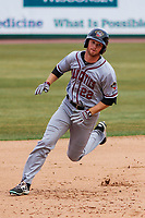 Quad Cities River Bandits outfielder Stephen Wrenn (22) rounds second and heads to third during a Midwest League game against the Wisconsin Timber Rattlers on April 9, 2017 at Fox Cities Stadium in Appleton, Wisconsin.  Quad Cities defeated Wisconsin 17-11. (Brad Krause/Four Seam Images)