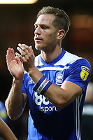 Michael Morrison of Birmingham City applauds the away fans at the end of the match during Brentford vs Birmingham City, Sky Bet EFL Championship Football at Griffin Park on 2nd October 2018